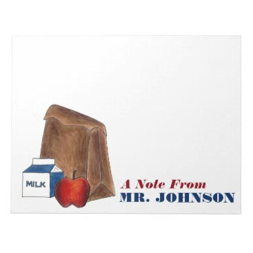 Beach Themed Brown Bag Lunch Apple Personalized Teacher Notepad