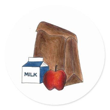Beach Themed Brown Bag Sack School Lunch Apple Teacher Stickers