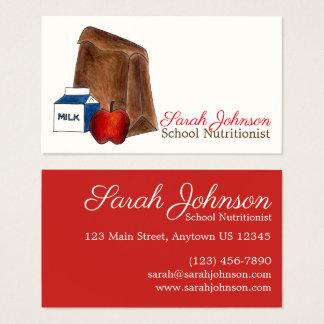 Brown Bag School Lunch Lady Nutritionist Teacher Business Card