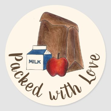 USA Themed Brown Bag School Lunch Packed with Love Classic Round Sticker