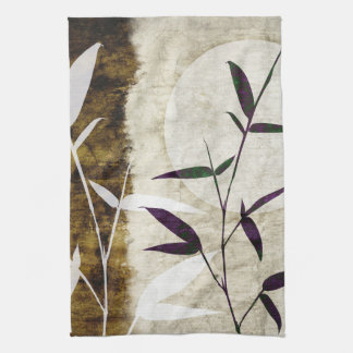 Brown Bamboo Moon Fall Leaves Kitchen Towel