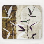 Brown Bamboo Moon Fall Leaves Mouse Pad