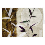 Brown Bamboo Moon Fall Leaves Stationery Note Card