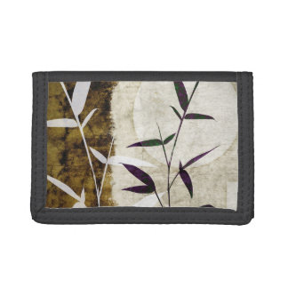 Brown Bamboo Moon Fall Leaves Trifold Wallets