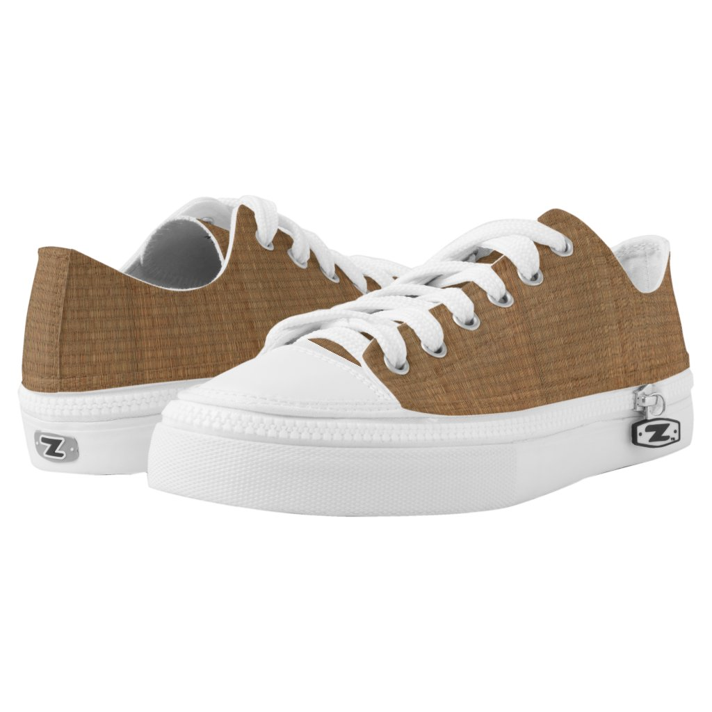 Brown Bamboo Straw Mat Pattern Printed Shoes