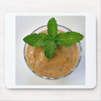 brown banana oregano smoothie and green peppermint mouse pad