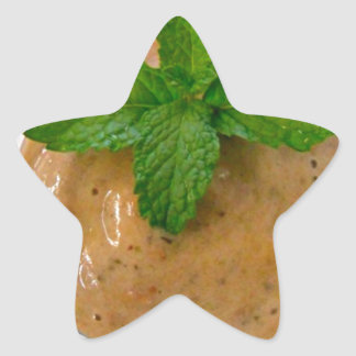 brown banana oregano smoothie and green peppermint star sticker