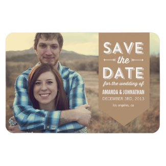 Brown Banner Photo Save The Date Magnet