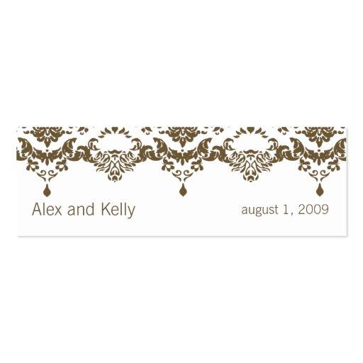 Brown Baroque Damask Wedding Website Business Card