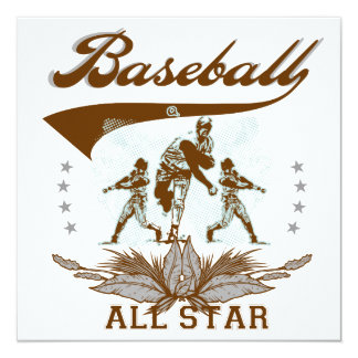 Brown Baseball All Star T-shirts and Gifts Custom Invite
