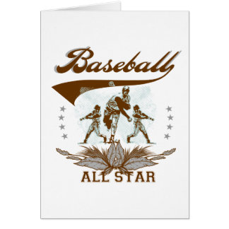 Brown Baseball All Star Tshirts and Gifts Greeting Cards