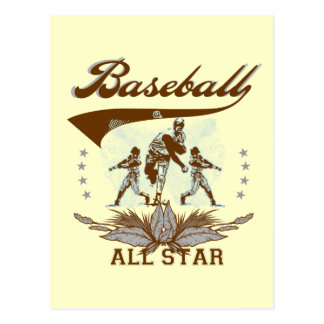 Brown Baseball All Star Tshirts and Gifts Post Cards