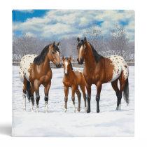 Brown Bay Appaloosa Horses In Snow 3 Ring Binder