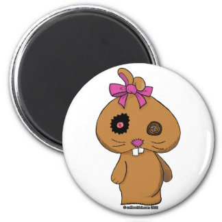 Brown BeanBag Bunny 2 Inch Round Magnet