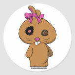 Brown BeanBag Bunny Round Stickers