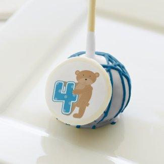 Brown Bear 4th Birthday Cake Pops