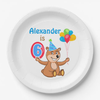 Brown Bear 6th Birthday Paper Plate