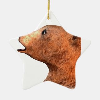 Brown Bear and Butterfly Ceramic Ornament