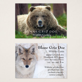 Brown Bear and Coyote Wildlife Business Card