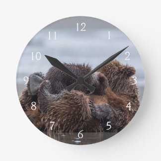 Brown bear and cubs 2 round clock