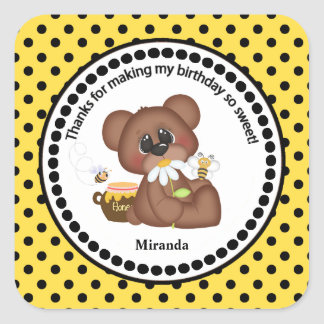Brown Bear and Daisy Birthday Thank You Square Sticker