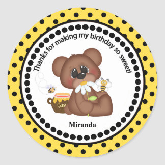 Brown Bear and Daisy Party Thank You Classic Round Sticker