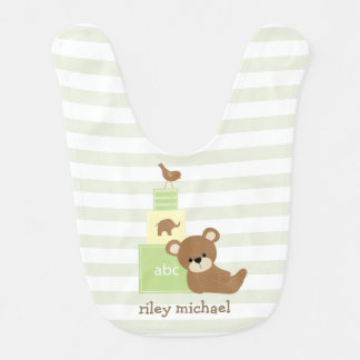 Brown Bear and Green Toy Blocks Personalized Baby Bib