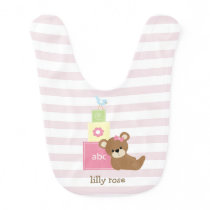 Brown Bear and Pink Toy Blocks Personalized Baby Bib