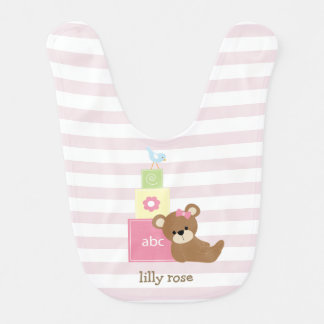 Brown Bear and Pink Toy Blocks Personalized Bibs