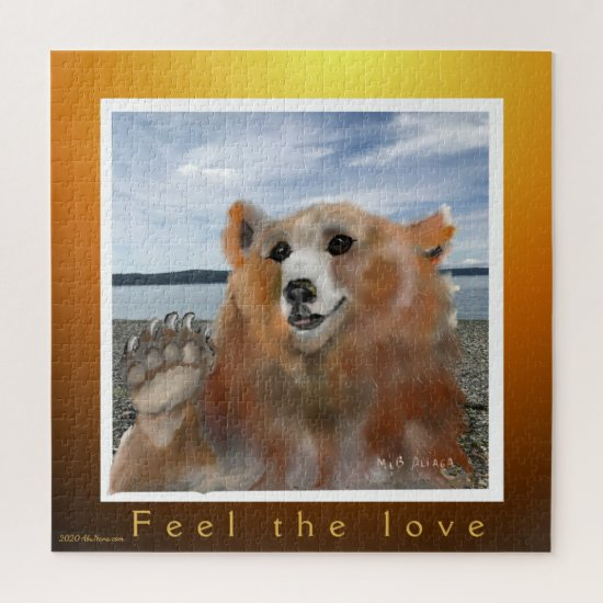 Brown Bear at the Beach Feel the Love Greeting Jigsaw Puzzle