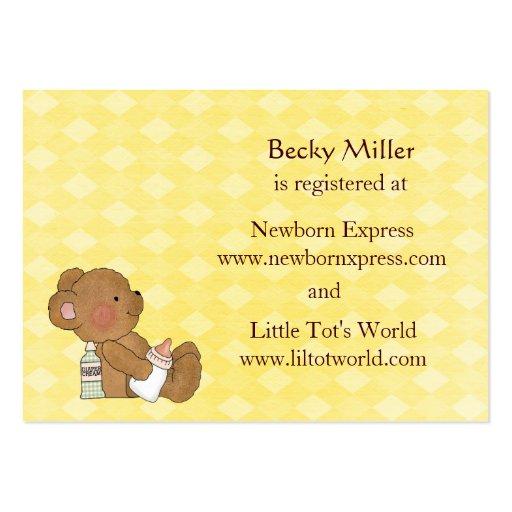 brown bear baby shower registry card set large business cards pack of 100 zazzle. Black Bedroom Furniture Sets. Home Design Ideas
