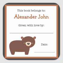Brown Bear book plate - Forest Animals bookplate