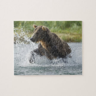 Brown Bear chasing salmon in river Jigsaw Puzzle