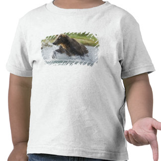Brown Bear chasing salmon in river T-shirts