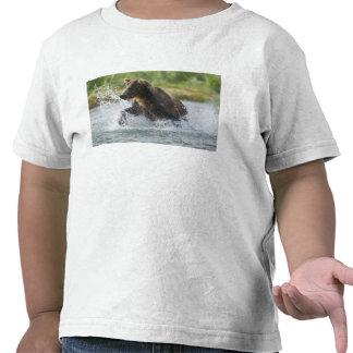 Brown Bear chasing salmon in river Tshirts
