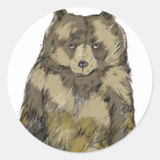 Brown Bear Classic Round Sticker