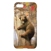 Brown bear climbing on tree iPhone 7 case