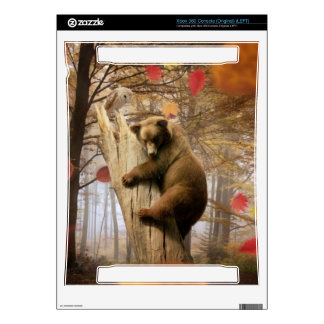 Brown bear climbing on tree skin for xbox 360 console