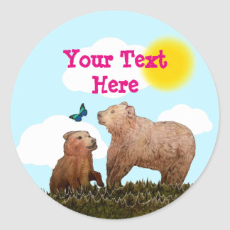 Brown Bear Cub and Mother with Butterfly Classic Round Sticker