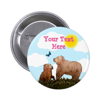 Brown Bear Cub and Mother with Butterfly Pinback Button