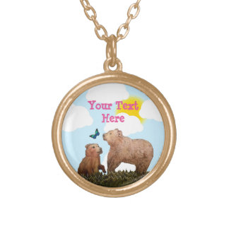 Brown Bear Cub and Mother with Butterfly Round Pendant Necklace