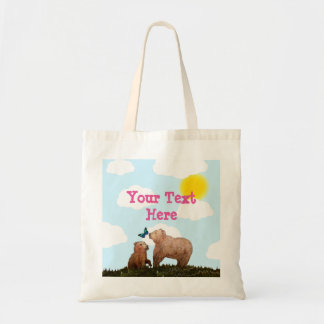 Brown Bear Cub and Mother with Butterfly Tote Bag