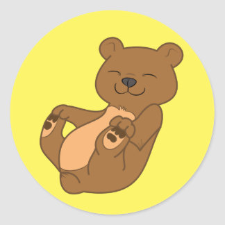 Brown Bear Cub Classic Round Sticker