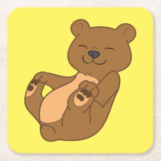 Brown Bear Cub Square Paper Coaster