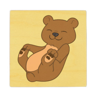 Brown Bear Cub Wood Coaster