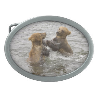 Brown Bear Cubs Playing in Water Belt Buckle