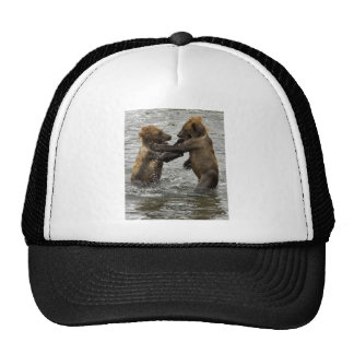 Brown bear cubs wrestling in the water mesh hat
