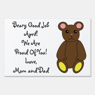 Brown Bear Customizable Yard Sign