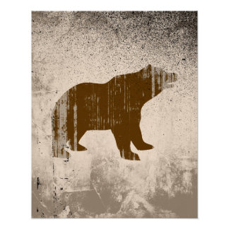 BROWN BEAR distressed Poster