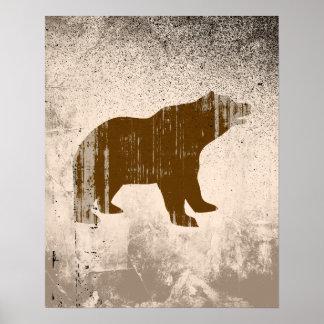 BROWN BEAR distressed Poster